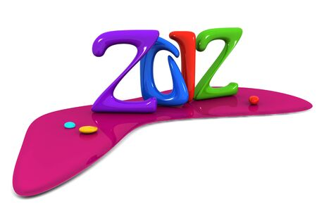 Colorful abstract 2012 calendar new year celebration 3d illustration illustration