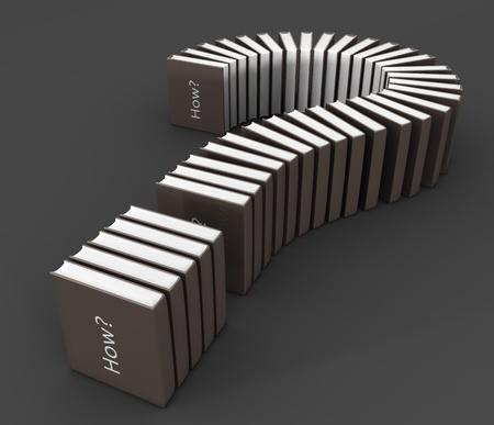 Solution of how concept book formed a question mark 3d illustration illustration