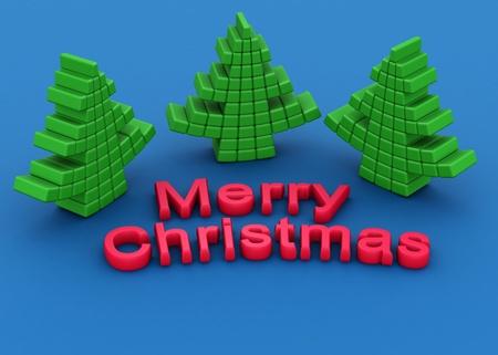 Rubber stationery christmas tree greeting 3d illustration Stock Illustration - 11307357