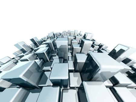 metalic background: Abstract dynamic block metalic background 3d illustration Stock Photo