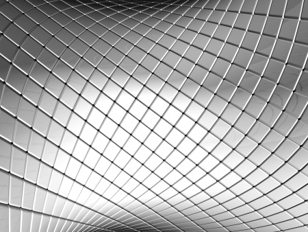 aluminium  design: Abstract silver square pattern background with reflection 3d illustration Stock Photo