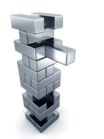 removing the risk: Risk concept removing tower block 3d illustration isolated white background Stock Photo