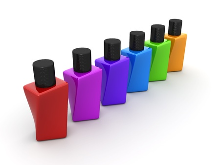 Multi color nail polish set 3d object Stock Photo - 13633580