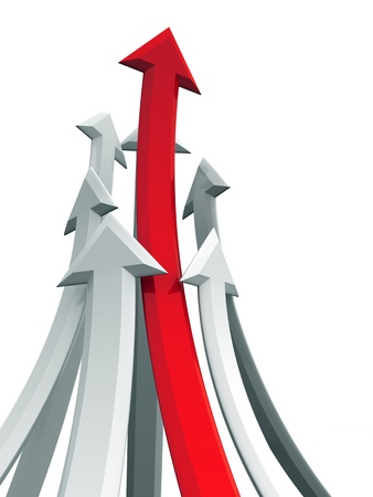 strong growth: Arrow rising toward same direction success concept 3d illustration Stock Photo