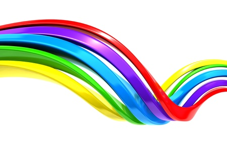 rainbow colours: Colorful abstract curve stripe background 3d illustration Stock Photo