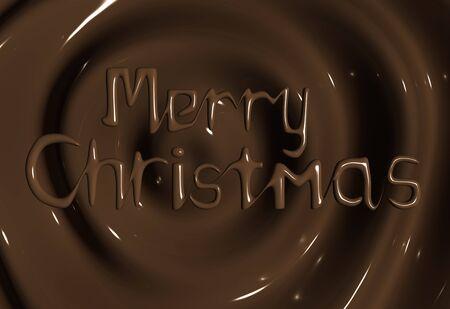 chocolatería: Chocolate Merry Christmas Background saludo ilustración 3d Foto de archivo