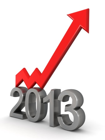 Year 2013 financial success arrow pointing up 3d illustration Stock Photo
