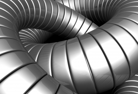 standard steel: Silver metal tube abstract background 3d illustration