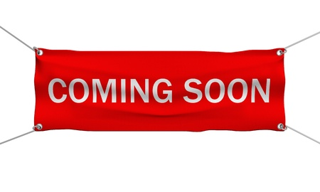 teaser: Coming Soon messaggio bandiera 3d illustrazione isolato
