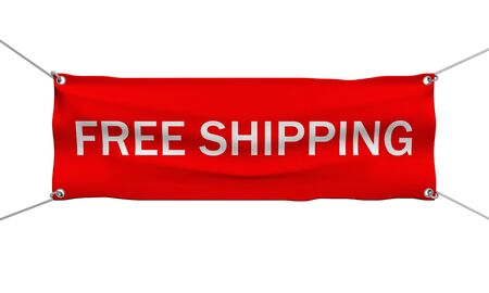 Free shipping banner 3d illustration isolated illustration
