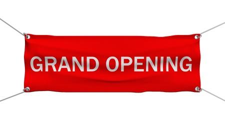 apertura: Gran Apertura bandera ilustraci�n 3d aislado