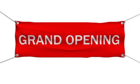 opening: Grand Opening banner 3d illustration isolated