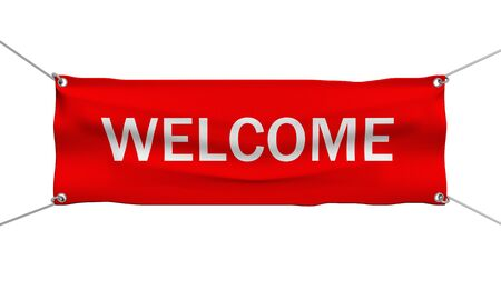 gratifying: Welcome message banner 3d illustration Stock Photo