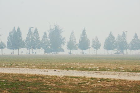 The state Malacca recorded the worst air pollutant index of open fire burning monsoon season in Sumatra Stock Photo - 20474963