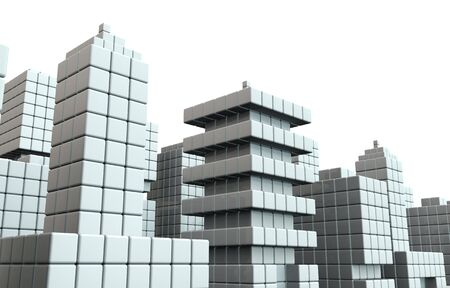 Abstract commercial building background isolated white background 3d illustration Stock Illustration - 20959524