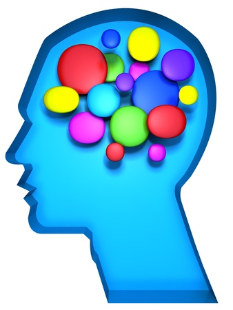 vigorous: Creative minds or artist concept a human head with colorful cell abstract brain illustration