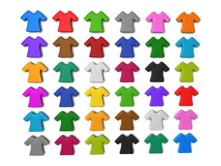 Colourful t-shirt icon isolated white background add your copy text in white shirt. Stock Photo - 21420351