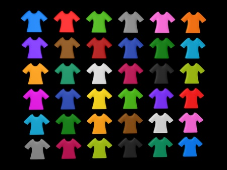 Colourful t-shirt icon isolated black background add your copy text in white shirt. Stock Photo - 21420421