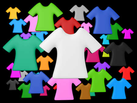 Randomize colourful t-shirt isolated black background add your copy text in white shirt. Stock Photo - 21418550