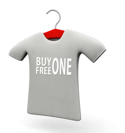 Buy one free one t-shirt concept 3d illustration isolated white background Stock Illustration - 21915404
