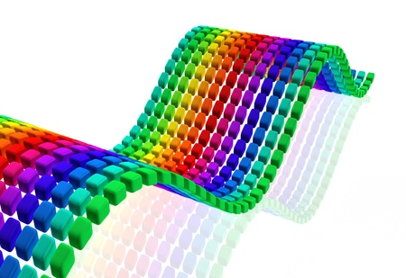 Multi color cube wave shape background 3d illustration Stock Illustration - 22027680