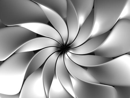 3d flower: Silver abstract luxury flower petal background 3d illustration