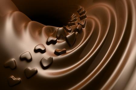 milk chocolate: Valentine Love shape Chocolate ripple Stock Photo