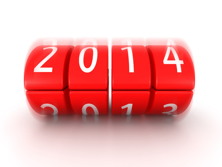 0 1 years: 2014 year coming soon rolling calendar 3d illustration