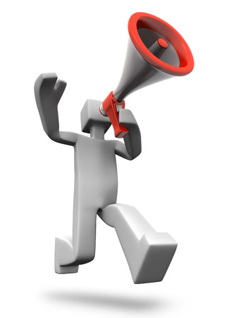 making an announcement: Man making excited news announcement 3d man illustration Stock Photo
