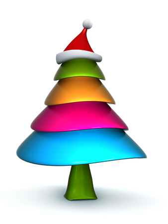 joys: Colorful candy Christmas tree with stanta hat 3d illustration Stock Photo
