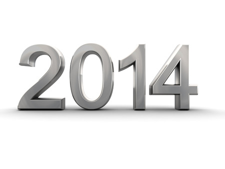 Metal year 2014 in white background 3d illustration Standard-Bild