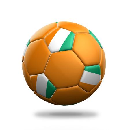 gold coast: Ivory Coast soccer ball isolated white background Stock Photo