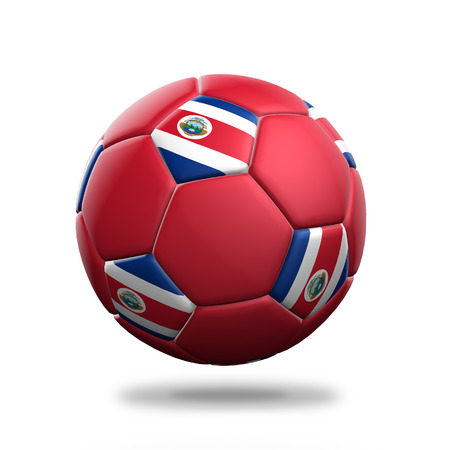 costa rica flag: Costa Rica soccer ball isolated white background