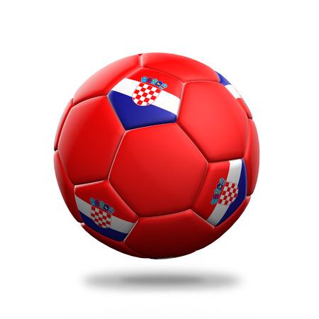 bandera de croacia: Aislado balón de fútbol Croacia fondo blanco Foto de archivo