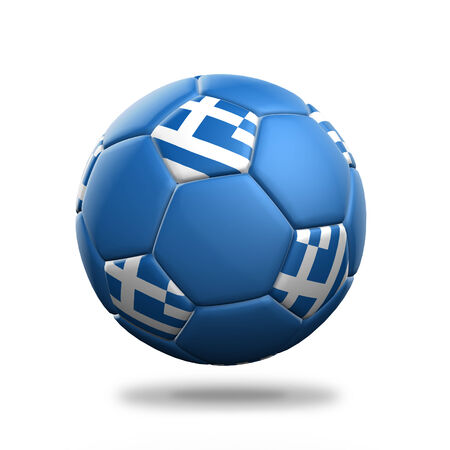 Greece soccer ball isolated white background photo