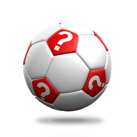 Soccer ball with question mark symbol isolated background  photo