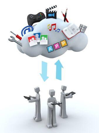 Cloud server teamwork and sharing concept 3d illustration illustration