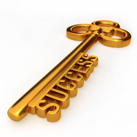 key success: Golden key to success isolated white background 3d illustration