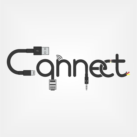 connect logo concept made of cables