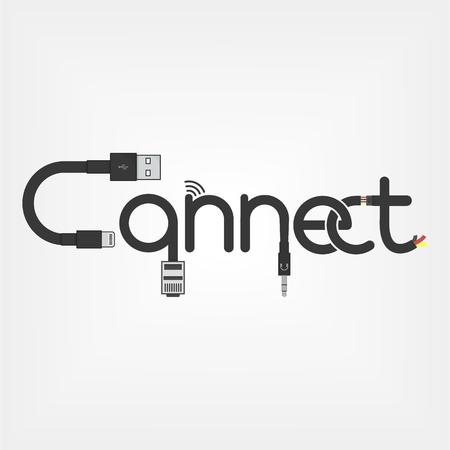 verbinden logo concept gemaakt van kabels