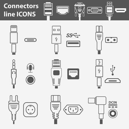 Connectors line icons set. Connection technology in flat design. Most popular wire and jacks with sockets on isolated background.