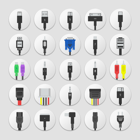 Serie di icone di connettori. Icone di cavi di trasferimento dati e alimentazione jack. Connettore di alimentazione elettrica, dispositivi mobili collegati, cavo e presa. tecnologia di connessione in design piatto.