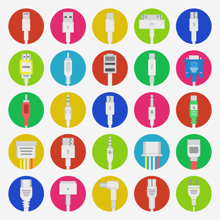 Connectors icons set. Connection technology in flat design. Most popular sockets and jacks on colorful background Illustration