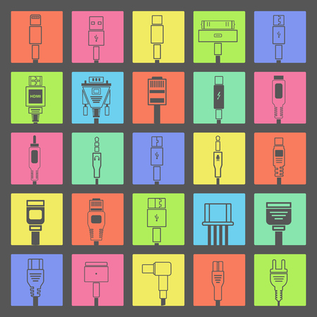 most popular: Set of colorful connectors line icons. Connector technology in flat design. Most popular sockets and jacks. Dark variation