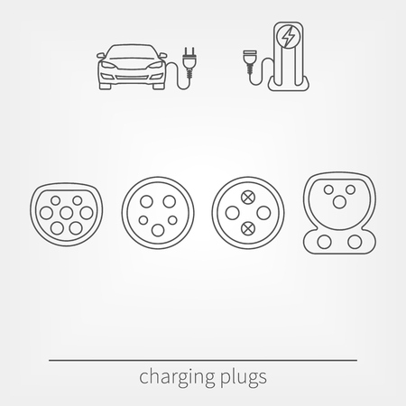 Plug connectors for charging electric vehicle. Vector illustration electric car and charging station. Different socket types