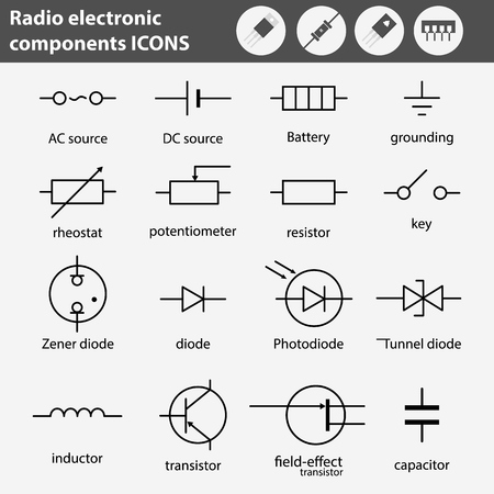 Electronic and radio components vector icon set in flat style Illustration