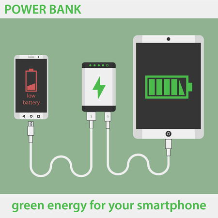 Tablet and smartphone charging with Power Bank. Phone low Battery.