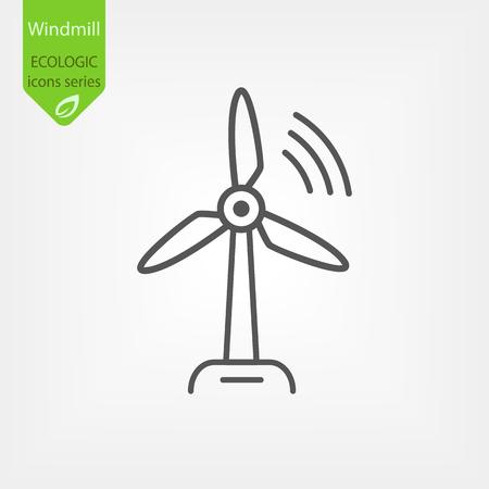 Windmill Line Vector Icon  イラスト・ベクター素材