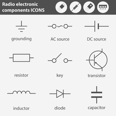 Symbols Of Radio Electronic Components Line Gray Icons Set Royalty