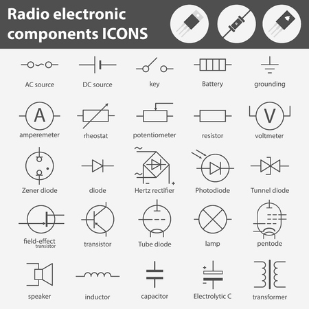 Symbols of radio electronic components line gray icons set.